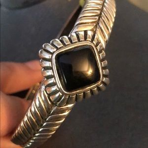 Vintage Sterling Silver with Black Onyx Cuff